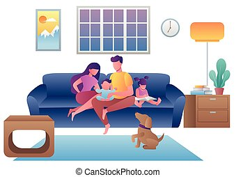 Flat design illustration with young family sitting on their sofa at home.