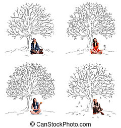 Staying beautiful any season. Collage of beautiful young cheerful woman looking up with smile while sitting under sketch of tree in different seasons