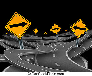 Staying on course symbol representing dilemma and concept of...