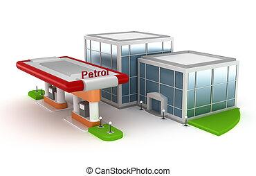 stazione, benzina, mercato, 3d