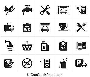 stazione benzina, nero, icone