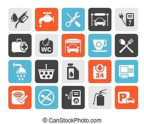 stazione benzina, silhouette, icone