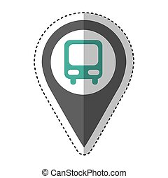 stazione bus, isolato, icona