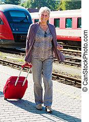 stazione, coppia, treno, invecchiato, maturo