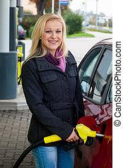stazione, donna, gas, rifornire carburante