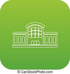 stazione, ferrovia, vettore, verde, icona