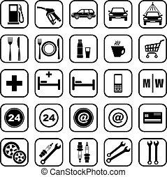 stazione, gas, icone