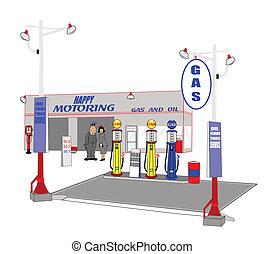 stazione, gas, retro