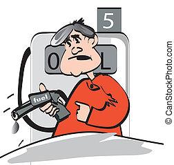 stazione, gas, uomo