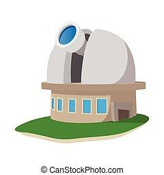 stazione, osservatorio, cartone animato, icona