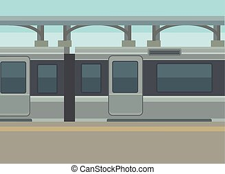 stazione, piattaforma, treno