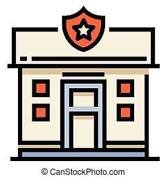 stazione, polizia, linecolor, illustrazione