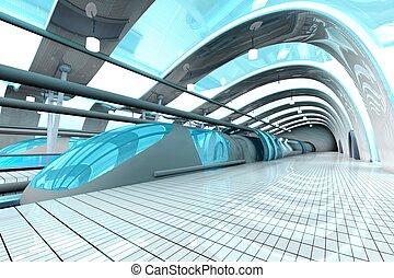 stazione, sottopassaggio, futuristico