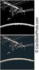 stazione, spazio, pianeta, orbita