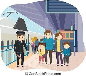 stazione treno, stickman, famiglia