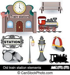 stazione treno, vecchio, elementi