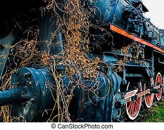 stazione, vecchio, vapore, locomotiva
