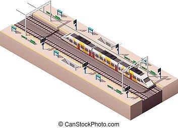 stazione, vettore, isometrico, treno