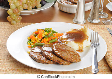 Stead dinner - A salisbury steak diner with mashed potatoes...