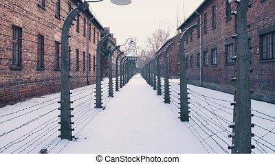 Steadicam walk between barbed wire fences. Auschwitz...