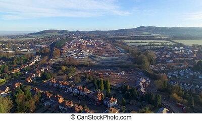 Steady aerial shot of a village