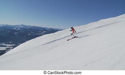 steadycam accompanying skiing woman part I