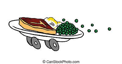 Steak and peas Fast Food - T-bone steak, mash potatos and...