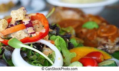steak and salad fresh colourful