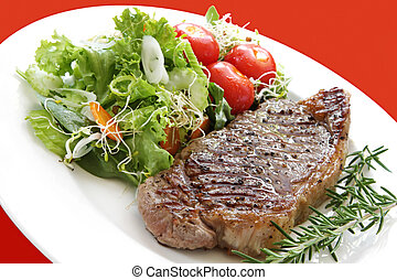 Steak and Salad - Grilled steak with salad. Porterhouse or...