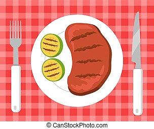 Steak and Vegetables Picnic Vector Illustration