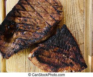 steak, auf, holz, brett