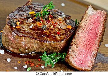 steak, auf, holztisch