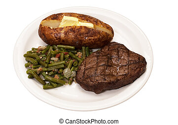 Steak, Baked Potato, and Green Beans - Sirloin steak with...