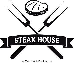 Steak bbq house logo, simple style
