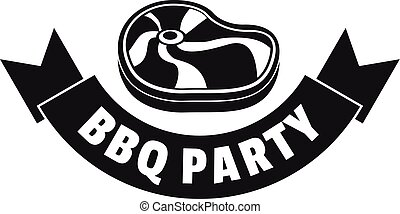 Steak bbq party logo, simple style