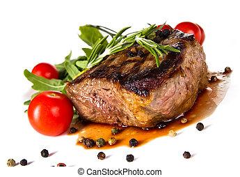 Steak - Beef steak medium grilled, isolated on white...