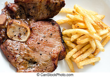 Steak beefsteak with french fries