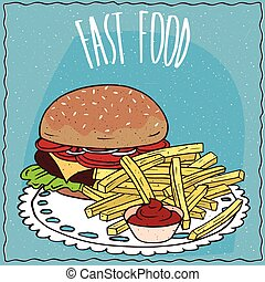 Steak burger and french fries with ketchup - Classic steak...
