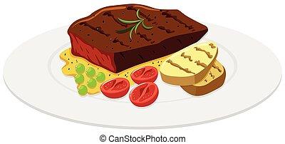 steak carne, e, batata, ligado, a, prato