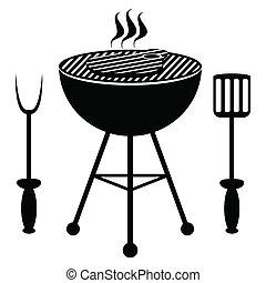steak carne, fritado, ligado, um, churrasco
