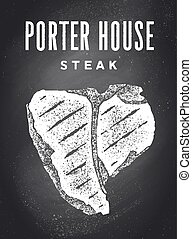 Steak, Chalkboard. Poster with steak silhouette, text Porter House, Steak. Typography kitchen poster template for meat business - shop, market, restaurant. Chalkboard background. Vector Illustration
