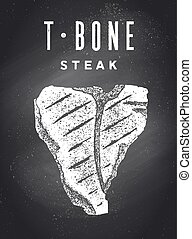 Steak, Chalkboard. Poster with steak silhouette, text T-Bone, Steak. Typography kitchen poster template for meat business - shop, market, restaurant, menu. Chalkboard background. Vector Illustration