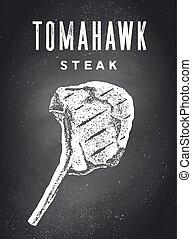 Steak, Chalkboard. Kitchen poster with steak silhouette - ...