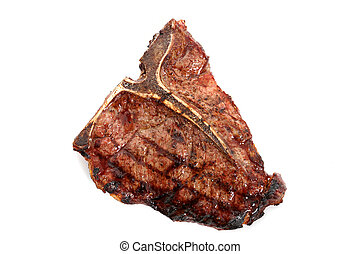 Steak - Cooked T-bone steak set on a white background