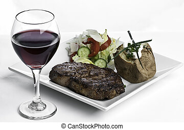 Steak Dinner and Red Wine