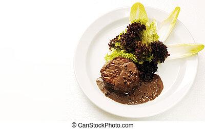 Steak fillet and salad