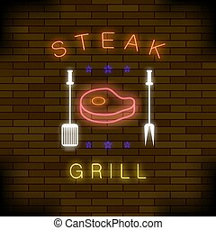 Steak Grill Neon Colorful Sign