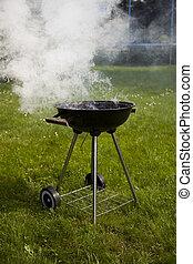 Steak, Grilling at summer weekend, bright colorful vivid...