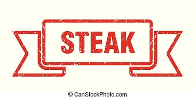 steak grunge ribbon. steak sign. steak banner