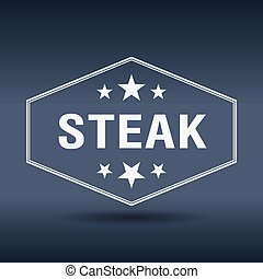steak hexagonal white vintage retro style label